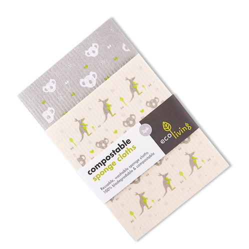Compostable Sponge Cleaning Cloths - Wildlife Rescue (2 pack)