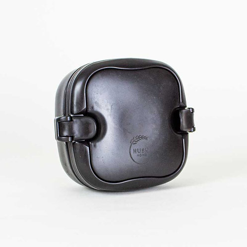 Multi-compartment sustainable rice husk lunch box in Obsidian