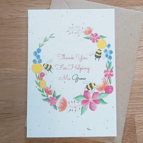 Plantable 'Thank you for helping me grow' card
