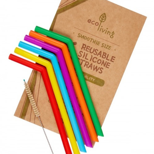 6 Silicone Drinking Straws (Smoothie size)