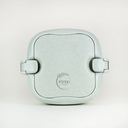 Multi-compartment sustainable rice husk lunch box in duck egg