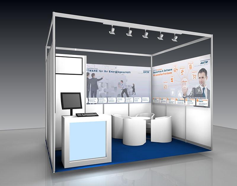 So wird er dann aussehen, der Messestand der AKTIG Technology GmbH  auf der E-World energy & water 2016 in Essen.