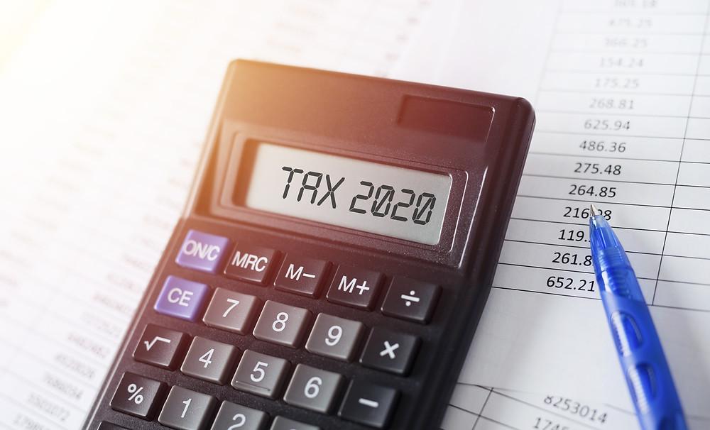 Calculator showing Tax 2020