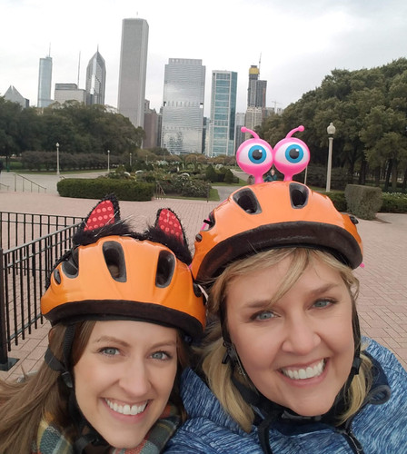 Rachael and Anna in our goofy helmets