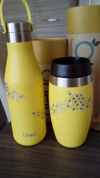 yellow honeycomb bdesign ohelo reusable water bottle and tumbler