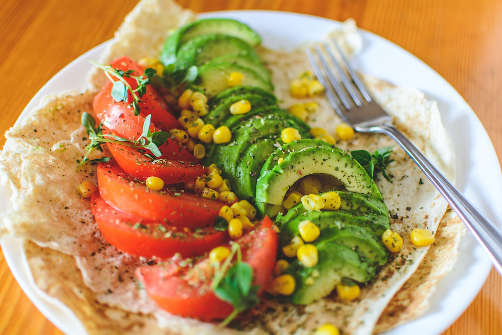 Tortillas with tomato, avocado and sweetcorn