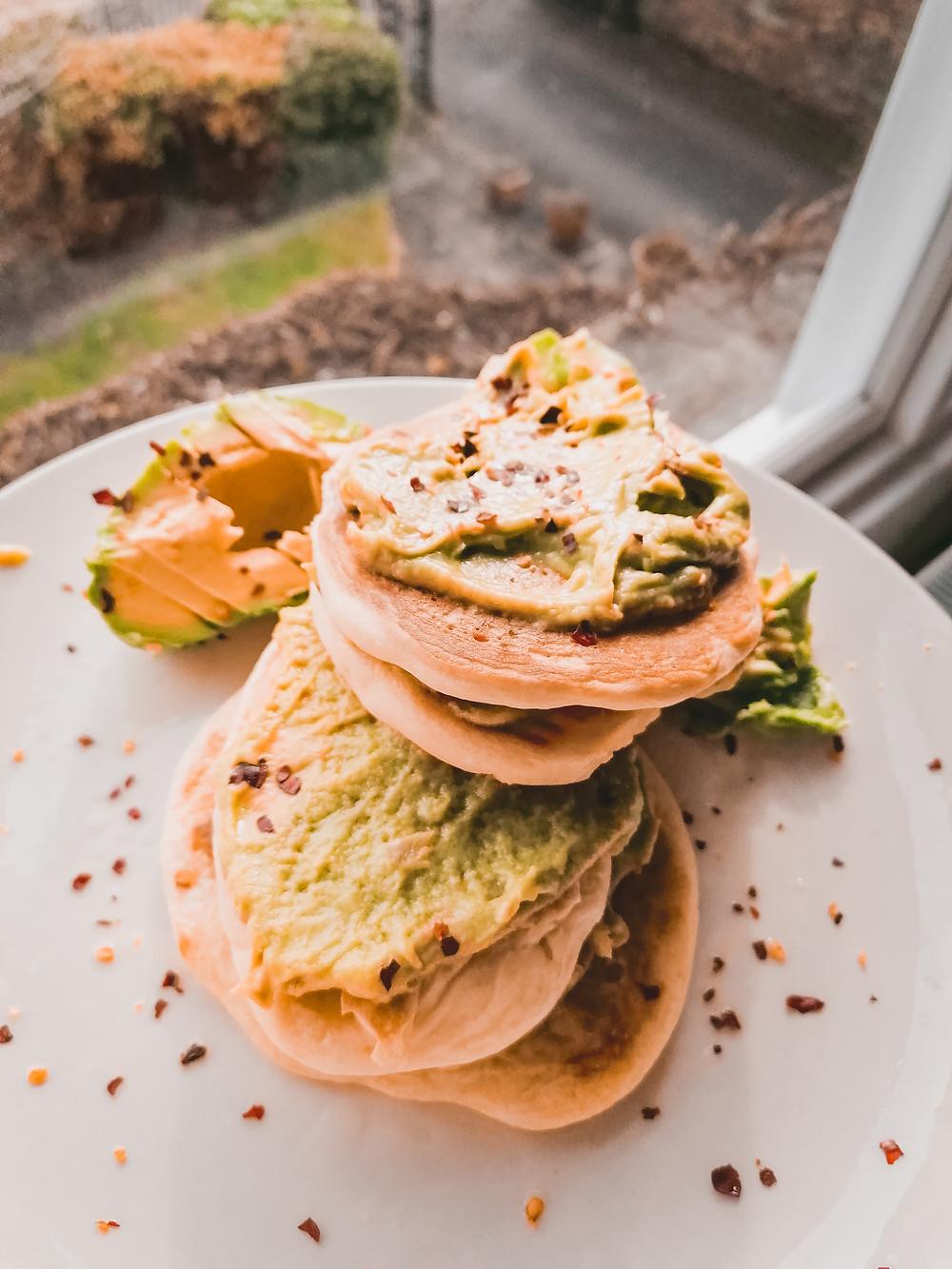 Vegan plant based pancakes with holy moly guacamole