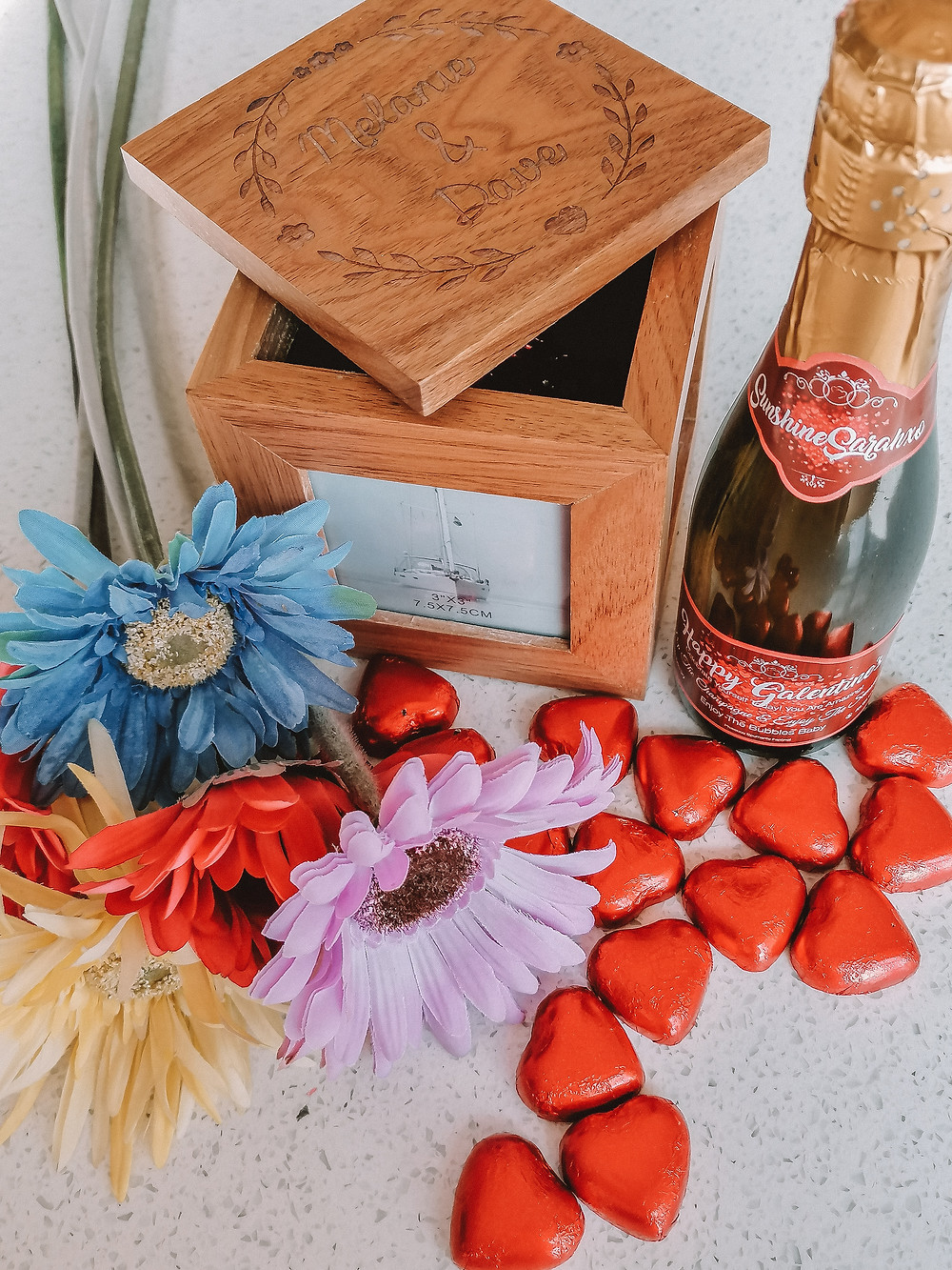 Say It With Champers bottle, chocolate hearts, fake flowers and personalised photo box