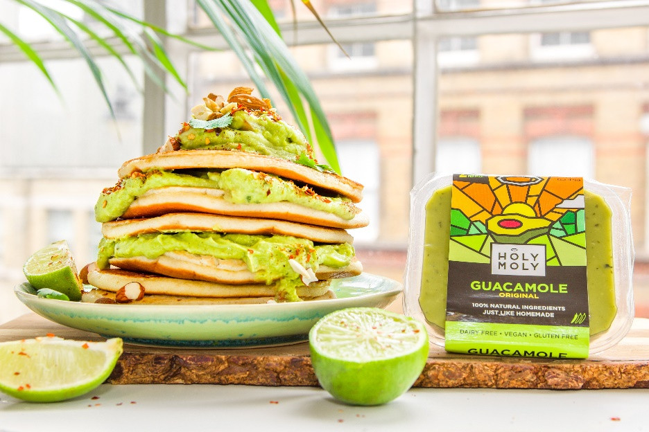 Vegan plant based pancakes with holy moly guacamole and lime and chilli flakes