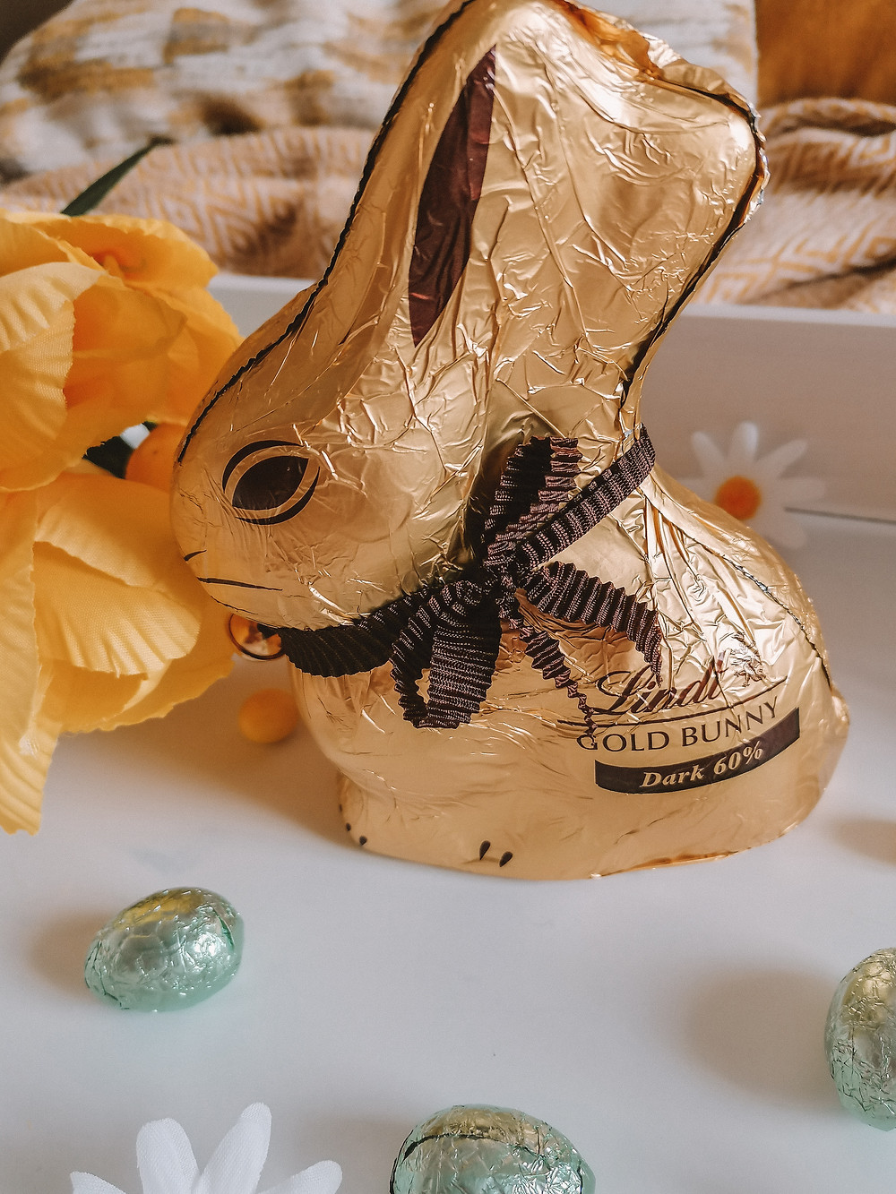 Lindt Gold Bunny with a brown ribbon and a bell