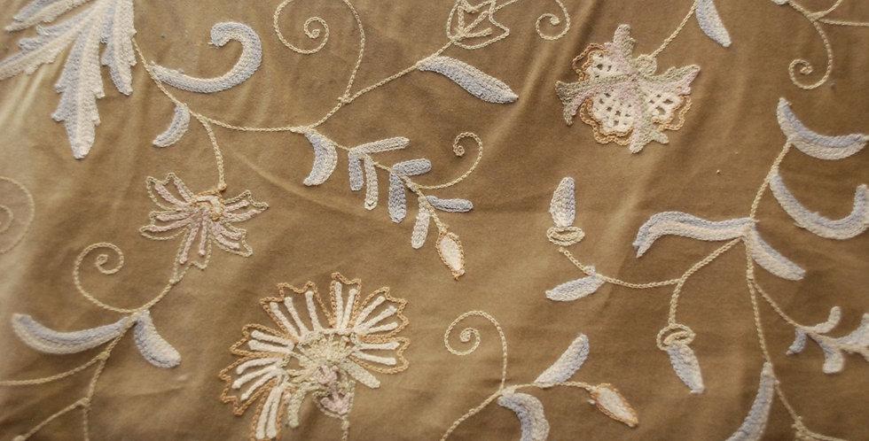 Lichen Crewel Fabric - Light Gold Tan & Cream Crewel