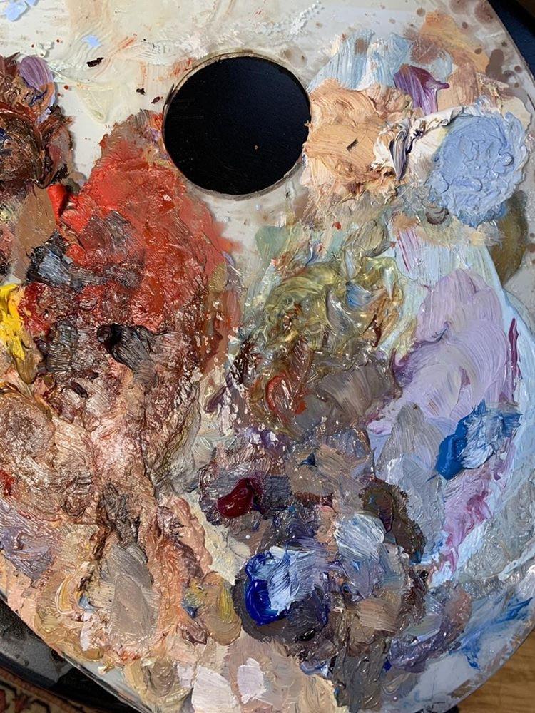 Oil painting palette closeup.