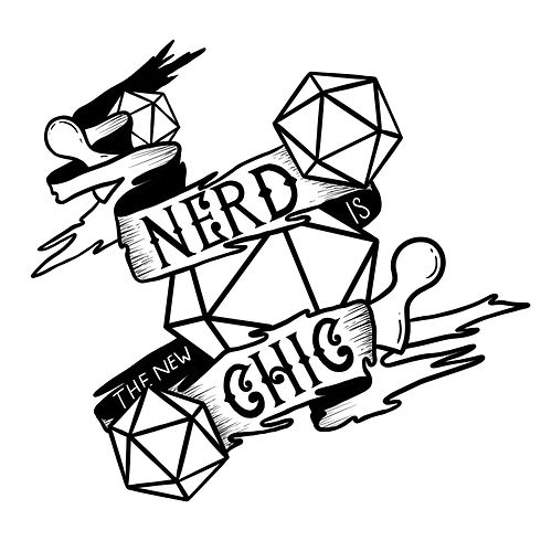 'Nerd is the new chic' illustrated lettering