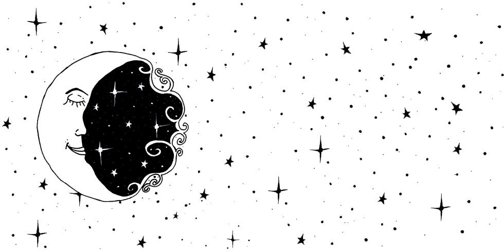 Black and white illustration of a moon and stars
