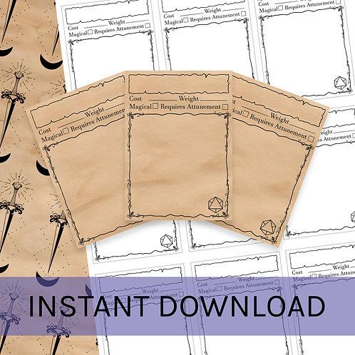 Blank d&d item cards