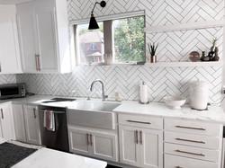 kitchen remodel-white herringbone backsplash