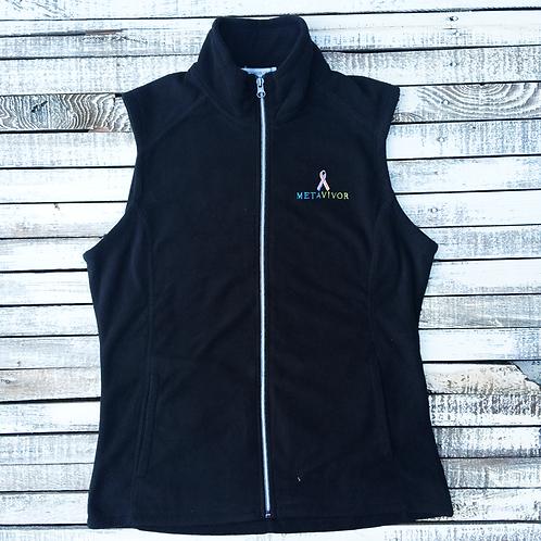 METAvivor Logo Ladie Micro Fleece Vest in Five Colors