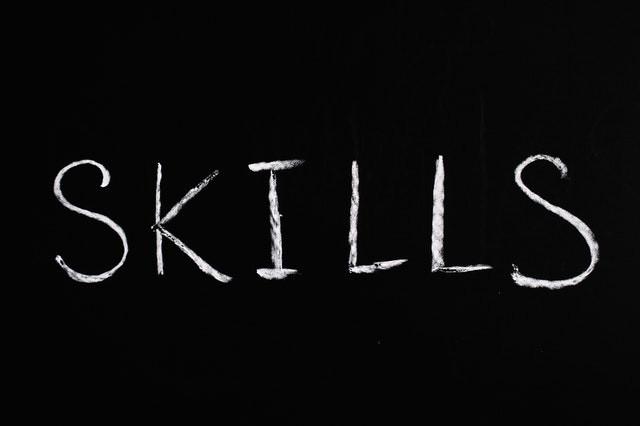 'Skills' on black background