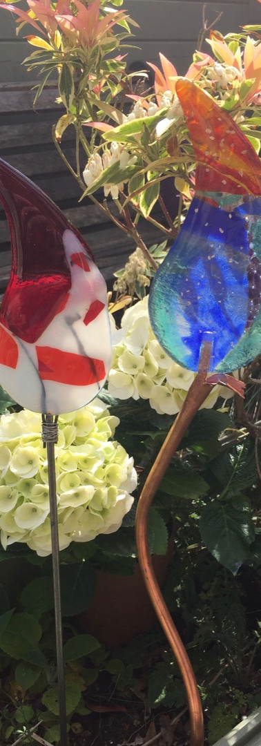 Fused glass garden decorations
