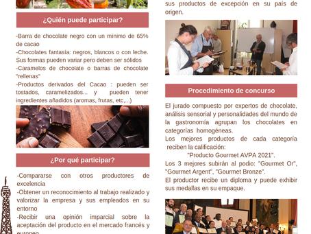 "1er Concurso Internacional ""CHOCOLATES ELABORADOS AL ORIGEN""  AVPA - París 2021"