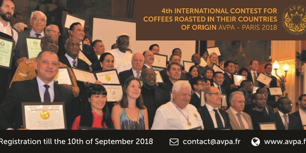 Remise de prix 4ème Concours International des Cafés torréfiés à l'origine  AVPA - Paris 2018