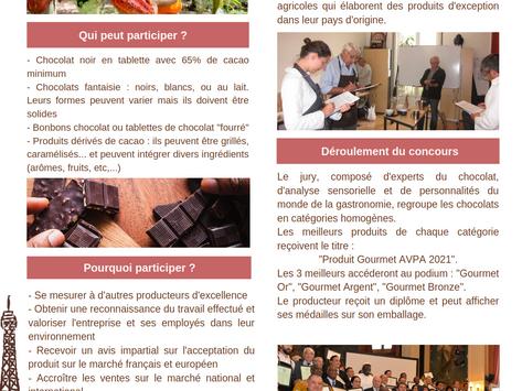 """1er Concours International """"CHOCOLATS ELABORÉS À L'ORIGINE  AVPA"""" - Paris 2021"""