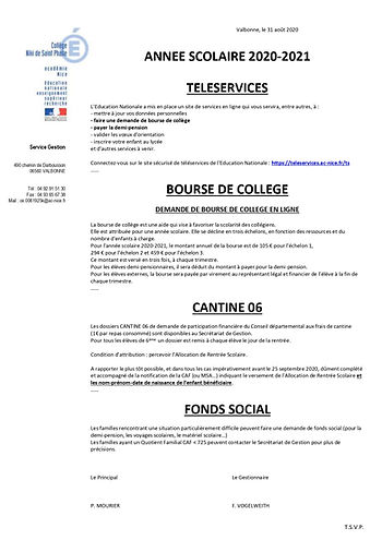 Informations teleservices rentree-2020-2