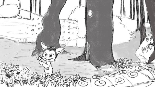 Kou picking flowers
