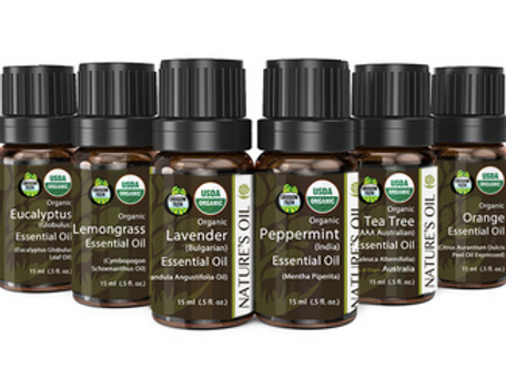 Top 6 - 15ml (Certified Organic) Essential Oil Aromatherapy Starter Kit