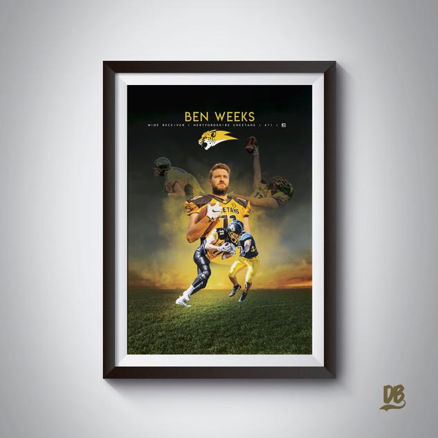 Bespoke poster designed for Hertfordshire Cheetahs player Ben Weeks.
