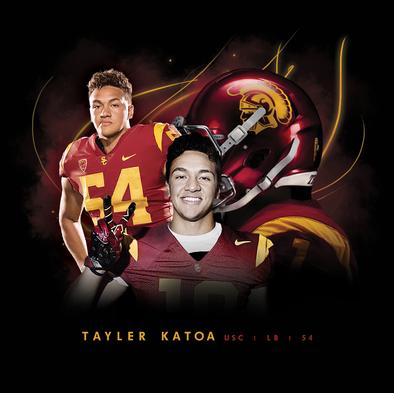Graphic for USC football player Taylor Katoa