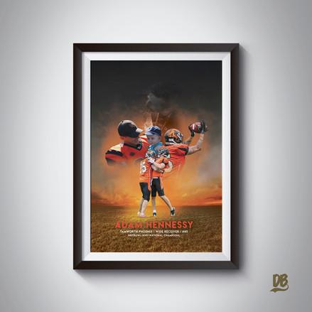 Bespoke poster designed for Tamworth phoenix Britbowl winner Adam Hennessey