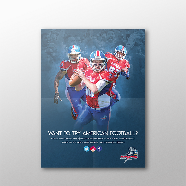 Flyer for the promotion of British American football franchise Sussex Thunder.