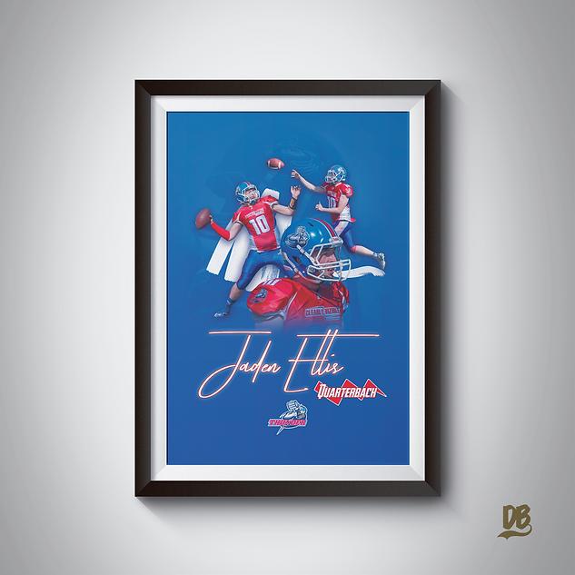 Bespoke poster designed for Sussex Thunder player Jaden Ellis