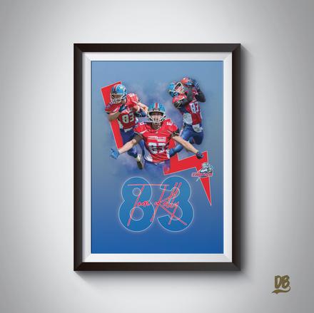 Bespoke poster designed for Sussex Thunder player Tom Kelly