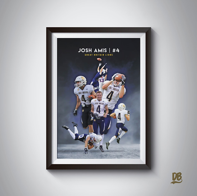 Bespoke poster designed for Great Britain Lions player Josh Amis