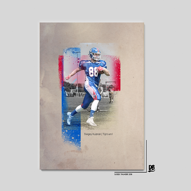 Bespoke vintage style poster designed for Sussex Thunder and Russian national team tight end Sergey Kuzmin