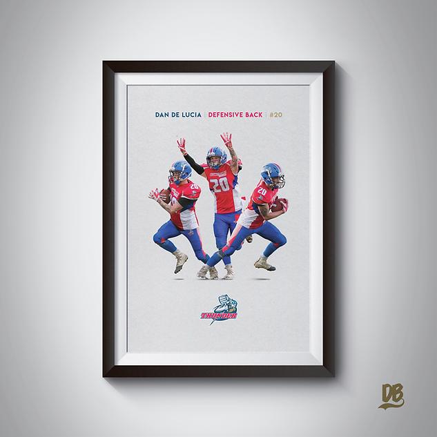 Bespoke poster designed for Sussex Thunder player Dan De Lucia