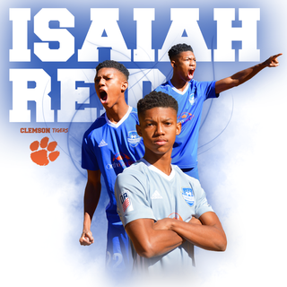 Commitment graphic for Clemson University soccer player Isaiah Reed