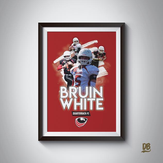 Bespoke poster designed for Solent Seahawks quarterback Bruin White