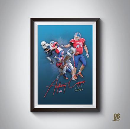Bespoke poster designed for Sussex Thunder player Anthony Copper