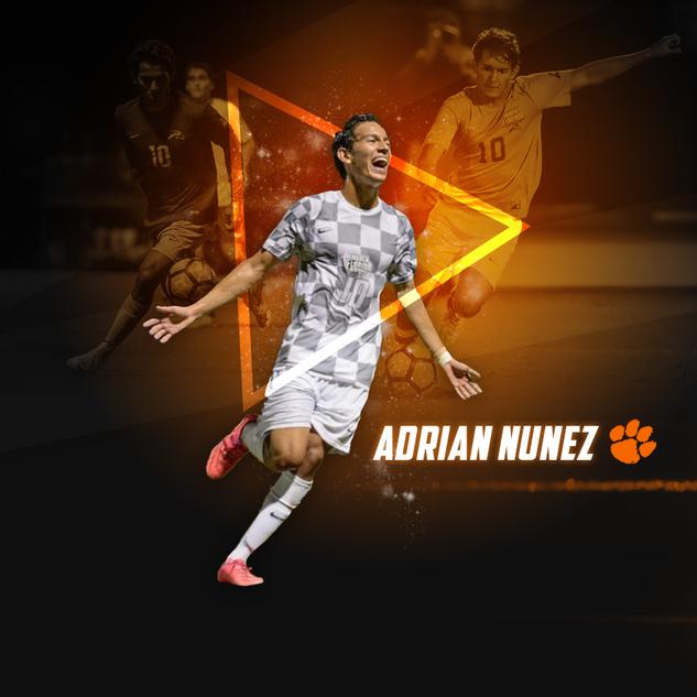 Commitment graphic for Clemson University soccer player Adrian Nunez