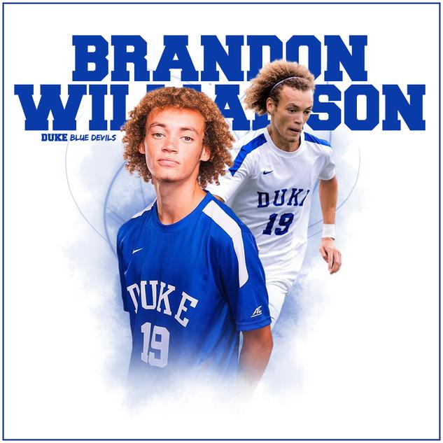 Graphic for Duke University soccer player Brandon Williamson