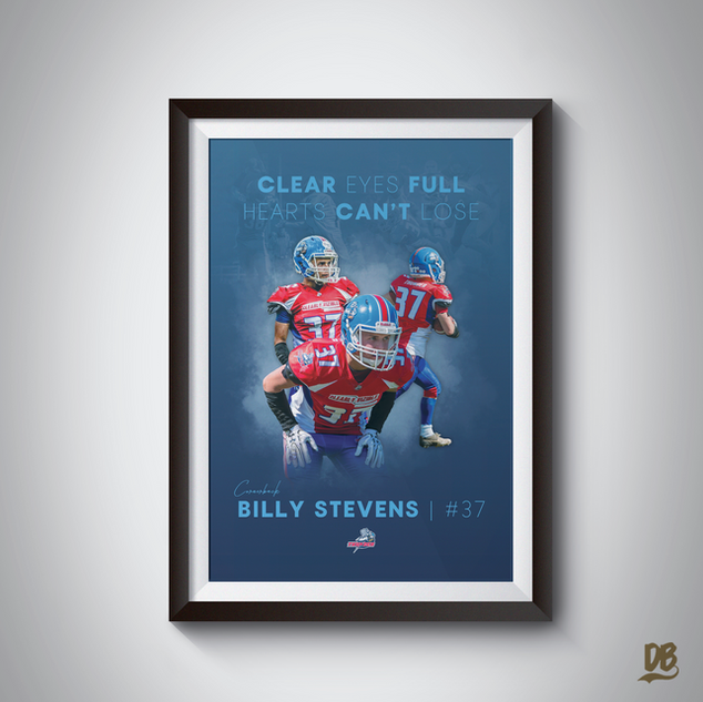Bespoke poster designed for Sussex Thunder player Billy Stevens