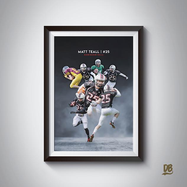 Bespoke poster designed for Birmingham Bulls player Matt Teall