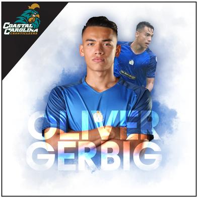 Commitment graphic for Coastal Carolina University soccer player Oliver Gerbig