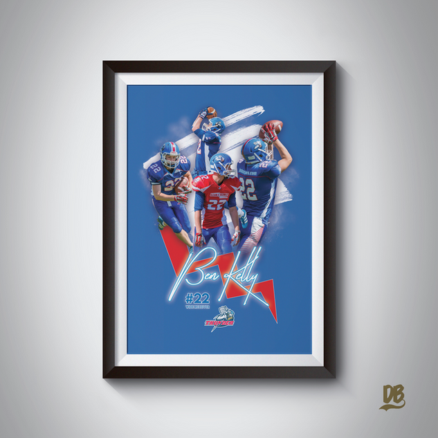 Bespoke poster designed for Sussex Thunder player Ben Kelly