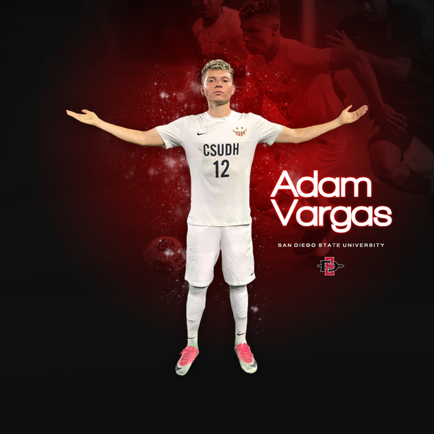 Commitment graphic for San Diego State University soccer player Adam Vargas