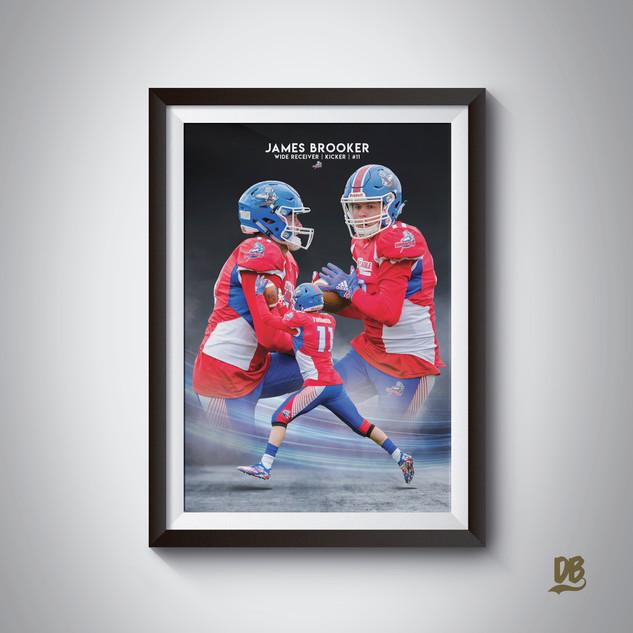Bespoke poster designed for Sussex Thunder wideout James Brooker