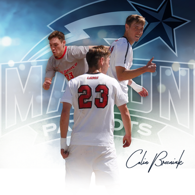 Commitment graphic for Mason University soccer player Colin Brezniak